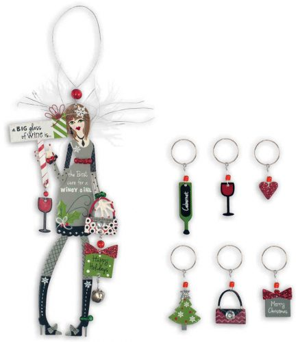 Happy Holidays Friend Ornament and Wine Charms