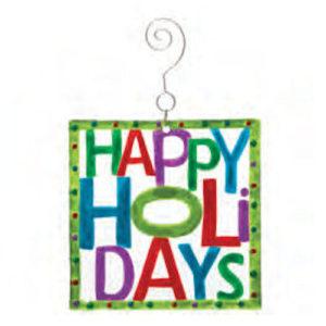Happy Holidays Glass Christmas Ornament