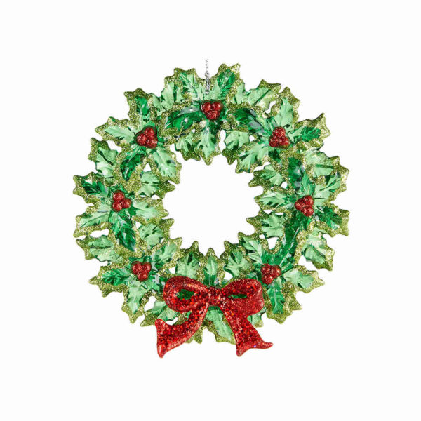 Holly Wreath with Bow Ornament