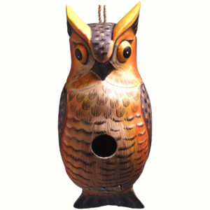 Birdhouse shaped like a horned owl