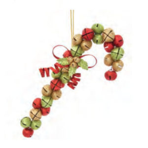 Jingle Bell Candy Cane Christmas Ornament