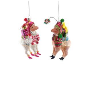 Kissing Llamas Ornament