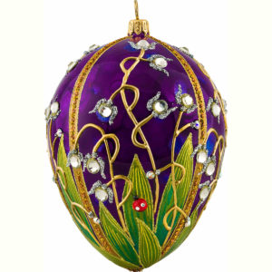 Ladybug Jeweled Egg Shaped Ornament