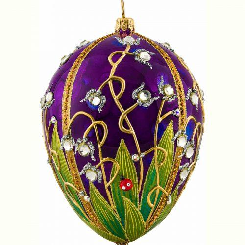 Ladybug Jeweled Egg Shaped Ornament