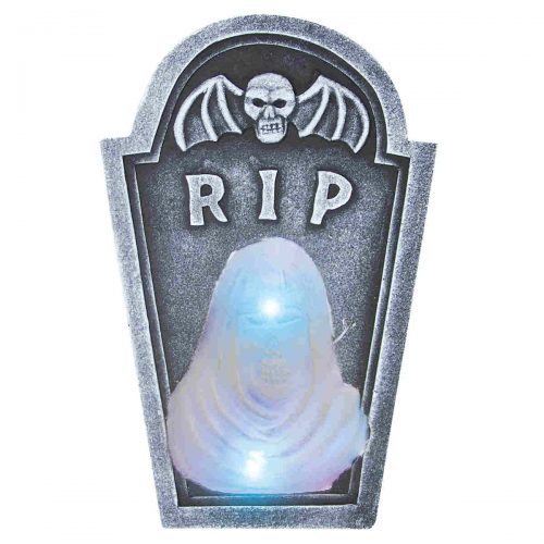 White Light Up Ghost Head RIP Tombstone