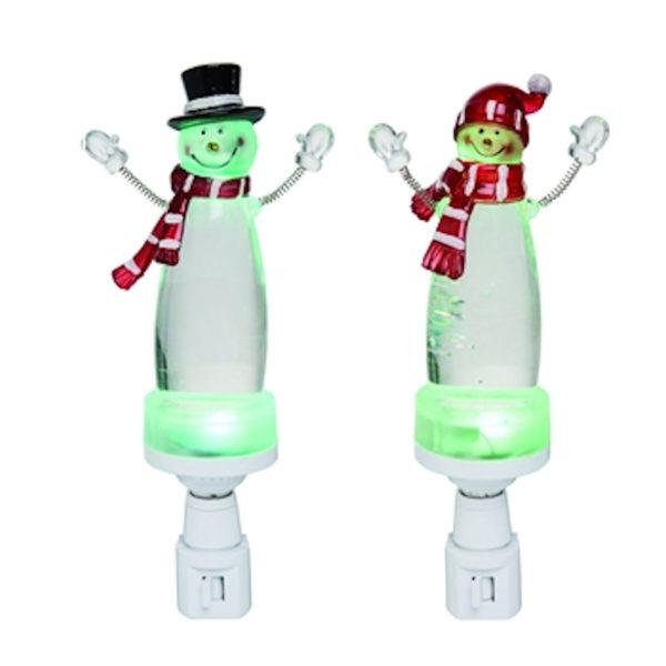 Light Up Glitter Snowman Night Lights