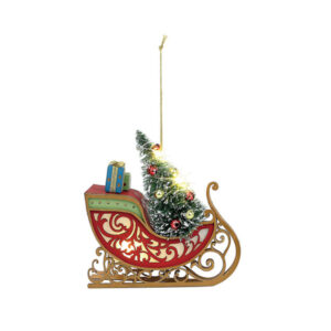 Lit Sleigh with Tree Ornament