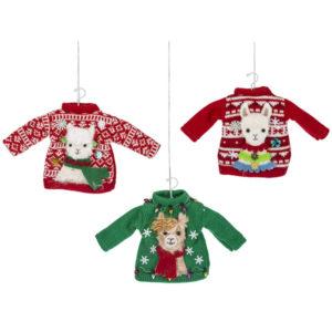 Llama Ugly Sweater Ornaments