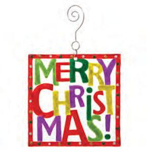 Merry Christmas Square Glass Christmas Ornament