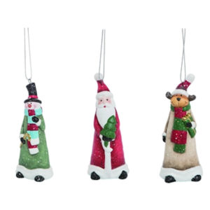Merry Snowman, Santa & Moose Ornaments