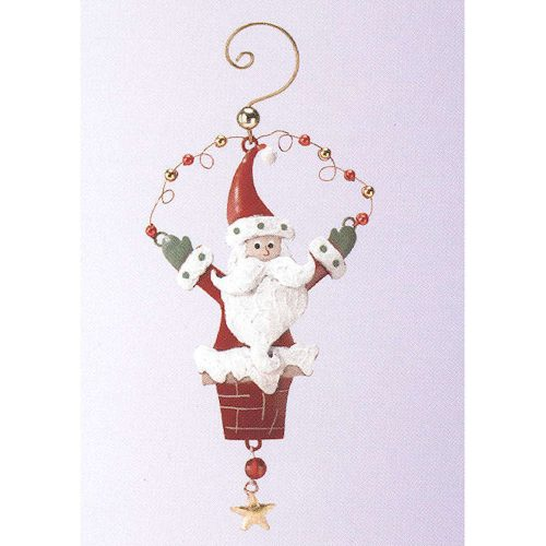 Metal Chimney Santa Christmas Ornament
