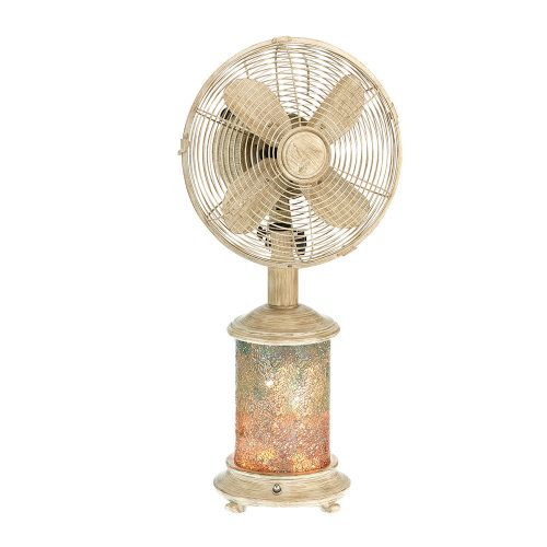 Mosaic Glass Sea Breeze Table Fan and Lamp