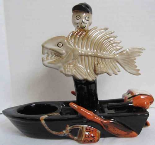 Mr. Bones Fish and Boat Tea Light Candle Holder