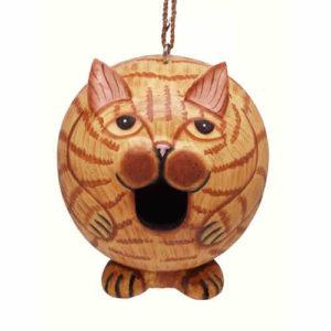 Orange Tabby Cat Shaped Birdhouse