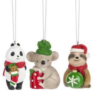 Panda, Koala, Hedgehog Ornaments