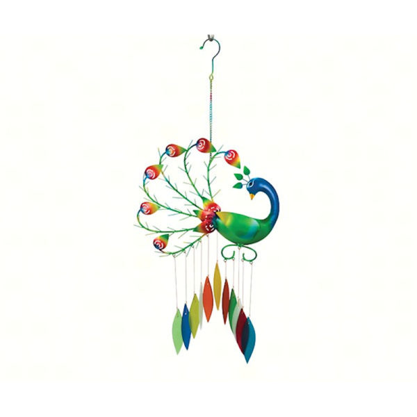 Colorful Peacock with wind chimes hanging below it.