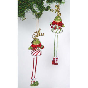 Peppermint Frogs Christmas Ornament