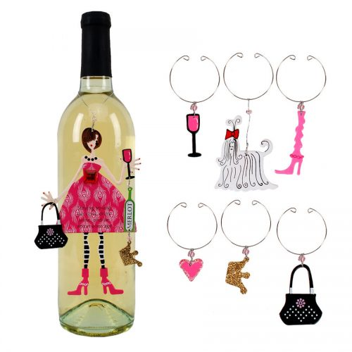 Pink Diva Ornament and Wine Charms