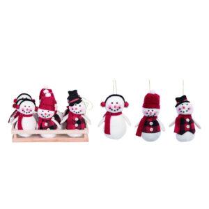 Plush Cuddly Snowman Ornaments