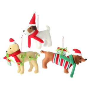 Plush Dog Christmas Ornaments