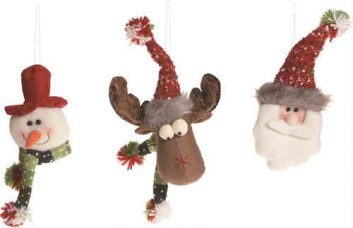 Plush Snowman, Moose, Santa Ornament