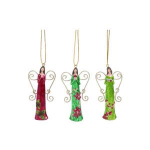 Poinsettia Dress Angel Ornament