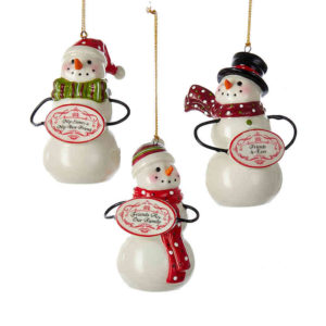 Porcelain Snowman Friends Ornaments