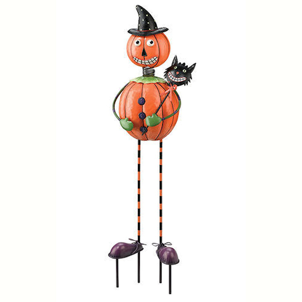 Pumpkin man halloween yard stake decorations happy for Cat outdoor christmas decorations
