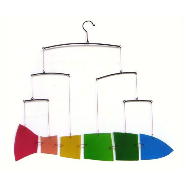 Hanging rainbow fish mobile
