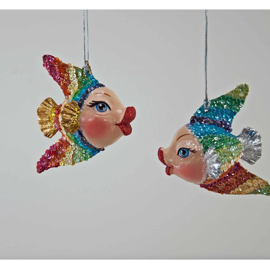 Rainbow Kissing Fish Ornaments - Happy Holidayware