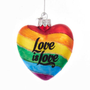Rainbow Pride Love is Love Glass Ornament