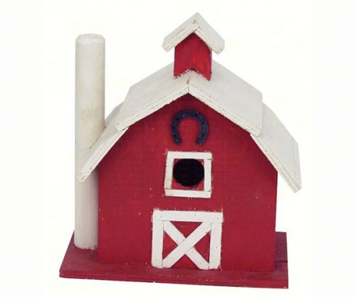 Red and White Barn Shaped Birdhouse