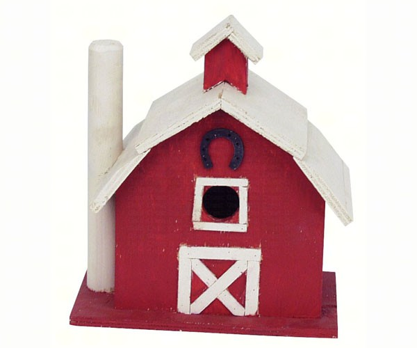 Red And White Barn Shaped Birdhouse Happy Holidayware