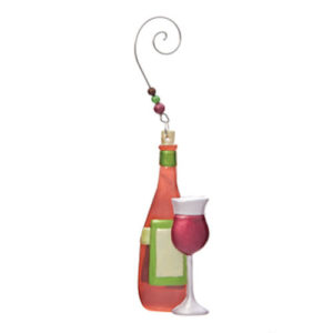 Red Wine Glass and Bottle Ornament