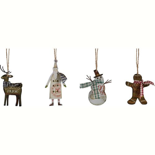 Reindeer, Santa, Snowman, and Gingerbread Man Ornaments