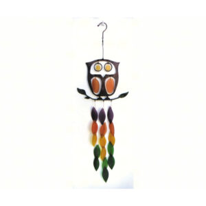 Retro Metal and Glass Owl Wind Chime