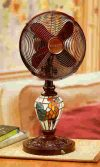 Fan & Lamp with Mosaic Rooster