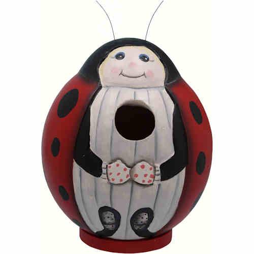 Round Birdhouse that looks like a ladybug