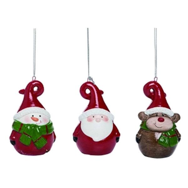 Round Snowman, Santa & Reindeer Ornaments