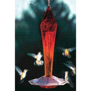 Ruby Red Faceted Hummingbird Feeder