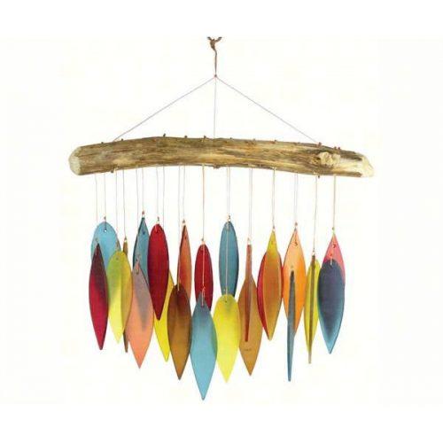 Santa Fe Colors Glass Leaves & Driftwood Chime