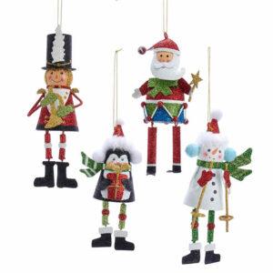 Santa, Snowman, Soldier and Penguin Ornaments