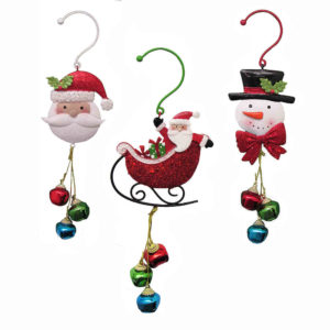 Santa, Snowman or Sled Jingle Bells Ornament