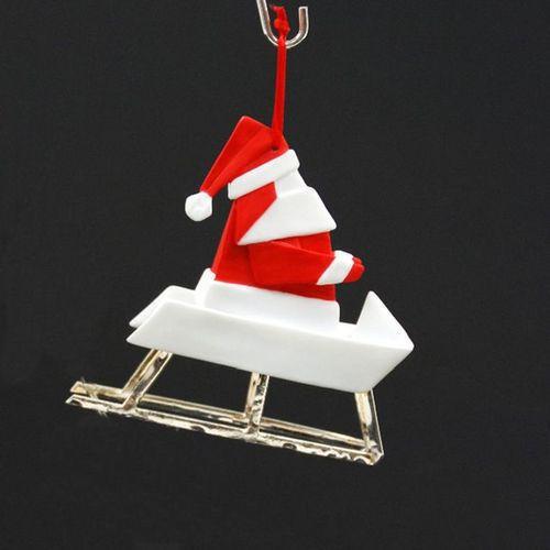Origami Santa Ornament: Santa On Sleigh Origami Ornament