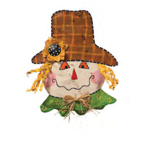 Scarecrow with Rosy Cheeks Halloween Door Decoration