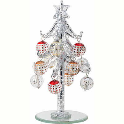 Silver Speckled Glass Christmas Tree With Bulb Ornaments