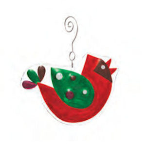 Singing Cardinal Glass Christmas Ornament