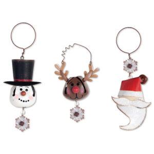 Snowman, Reindeer and Santa Bell Ornaments