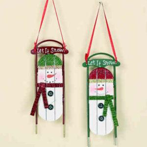 Snowman Sleigh Ornaments