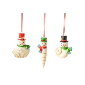 Snowmen Seashell Ornaments